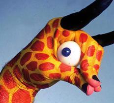 Giraffe painted hand