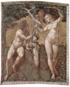 Adam & Eve Fresco by Raphael