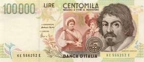Italian Lire Banknote with Caravaggio