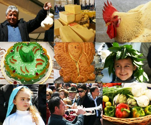Collage of food auction in Sicily