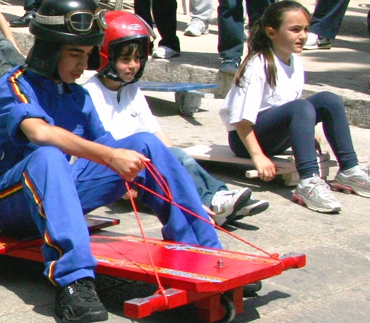 Italian kids on go-karts