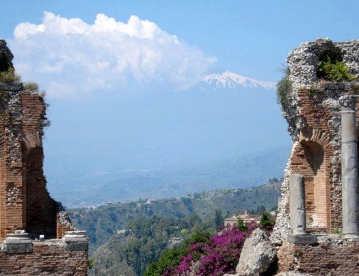 Taormina Greek theatre with Mt Etna, Sicily