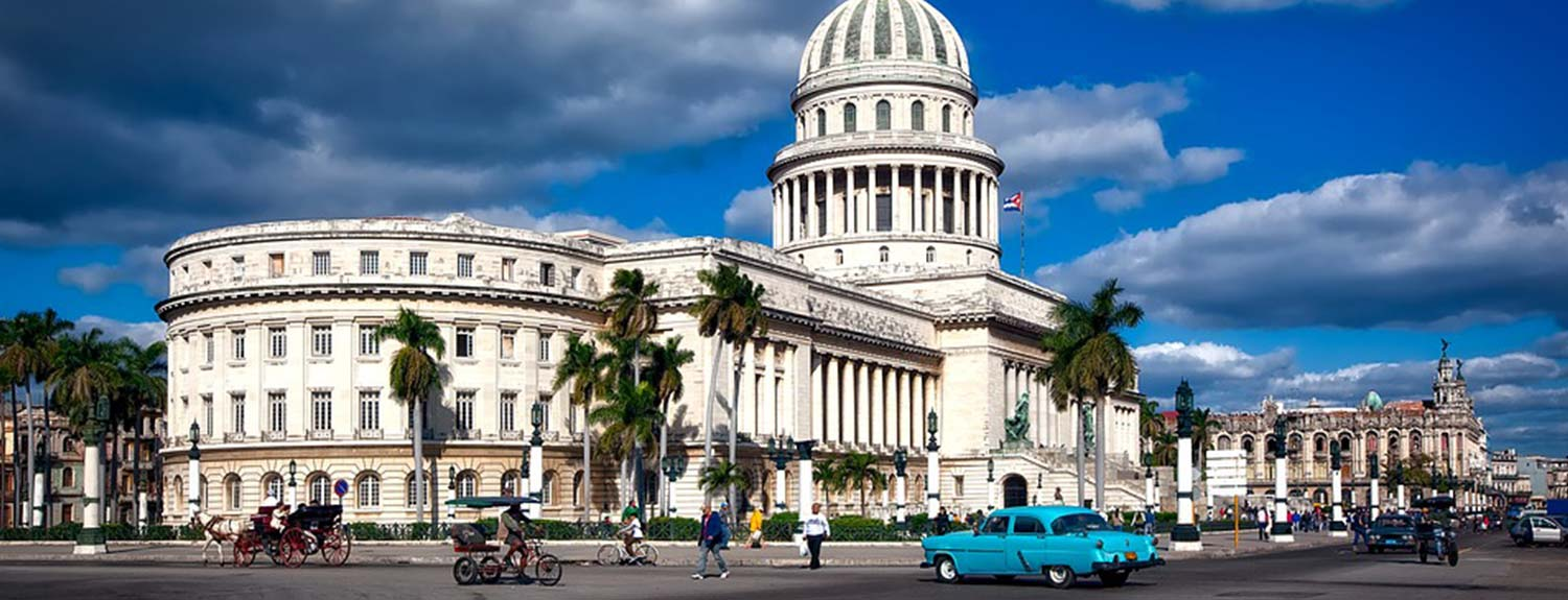 Cuba capital with palm trees and pedestrians
