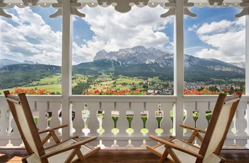 porch with a view of the Dolomites