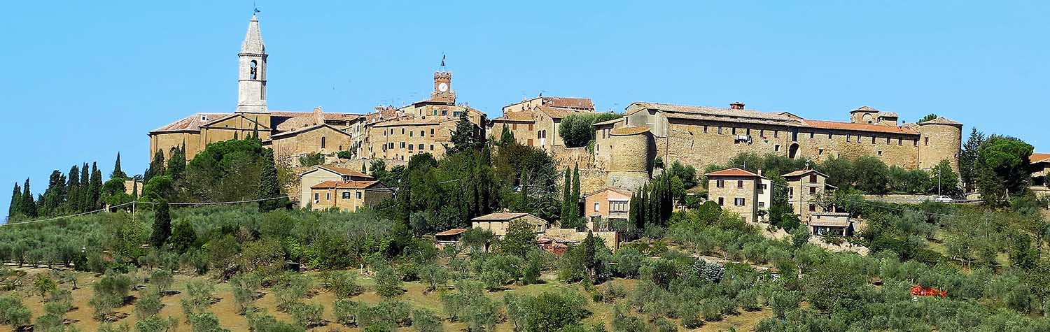 panorama of historic town in Italy with lush green landscapes