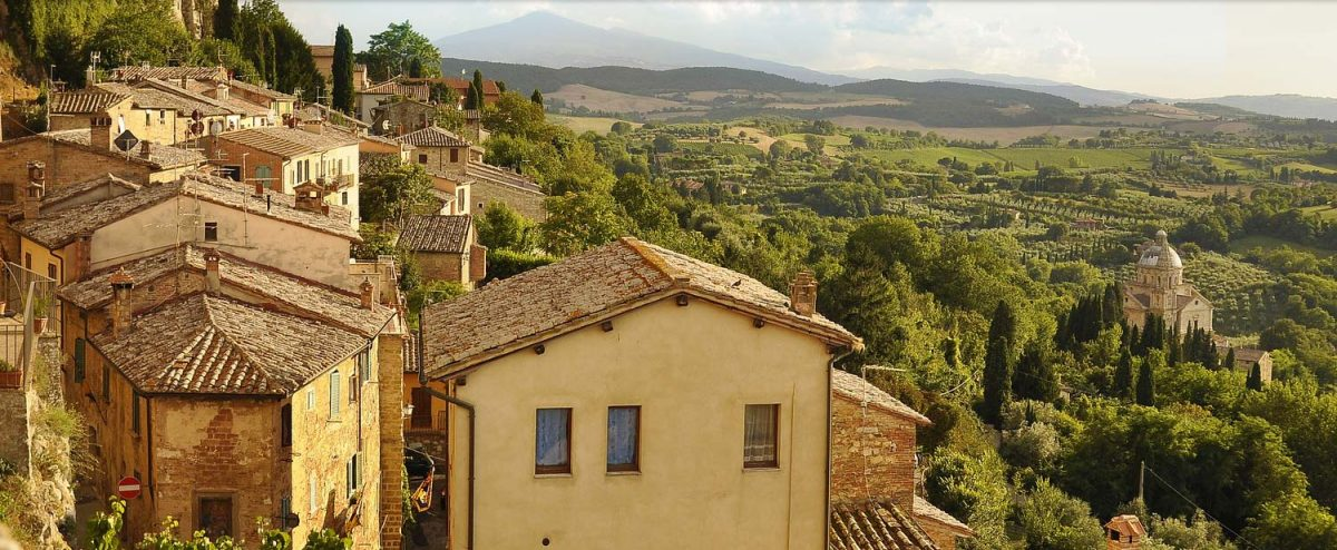 Italian village and picturesque countryside