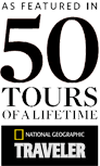 "badge award for ""50 Tours of A Lifetime"" by National Geographic Traveler"
