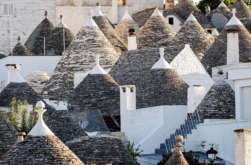 Trulli cone shaped dwellings in Alberobello, Puglia Italy