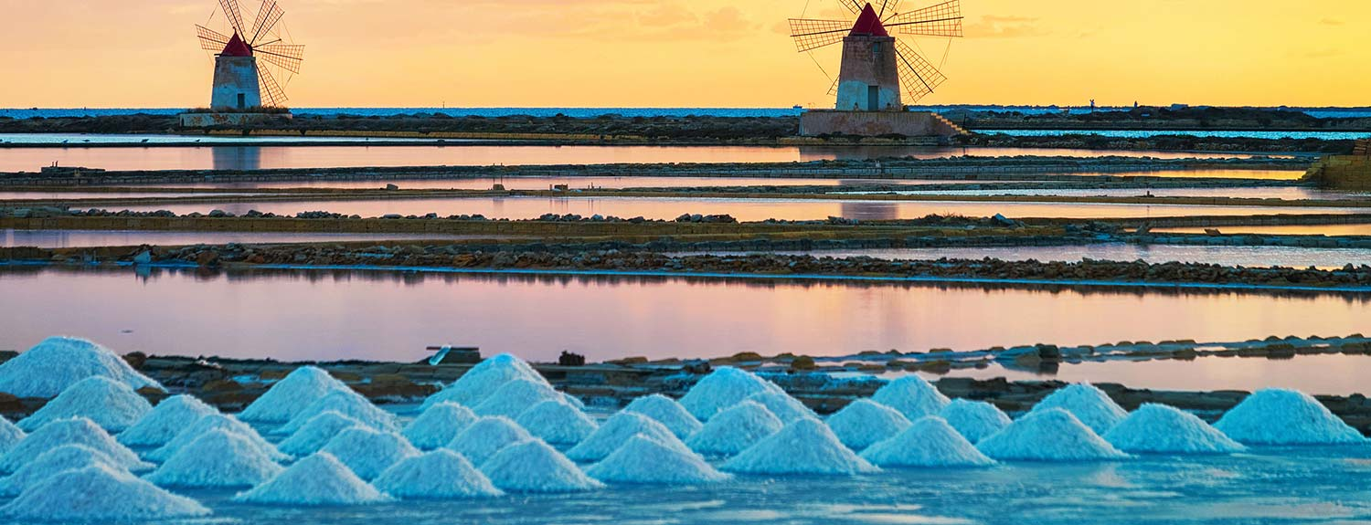 Piles of sea salt in Sicily