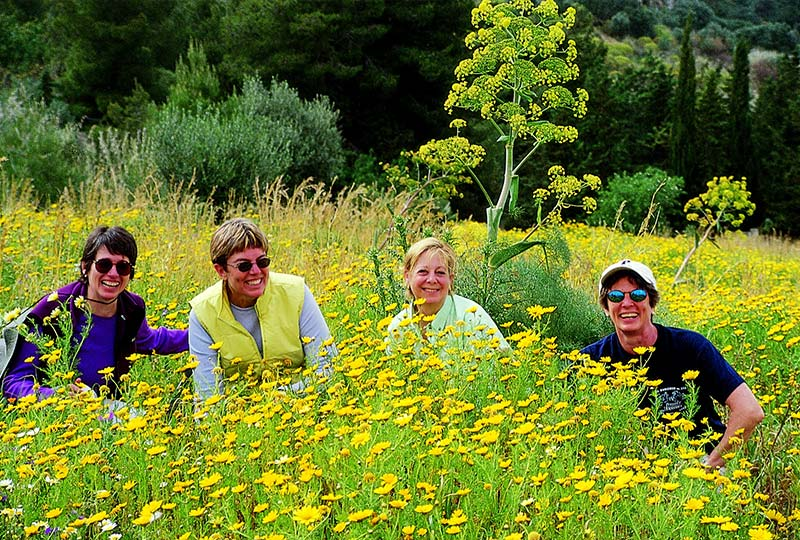 4 women smiling, surrounded by wildflowers