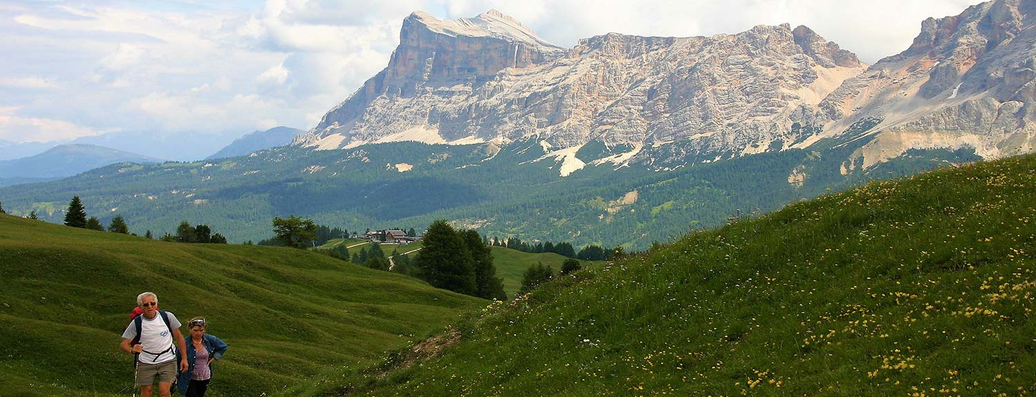 photo of the Dolomites with people hiking