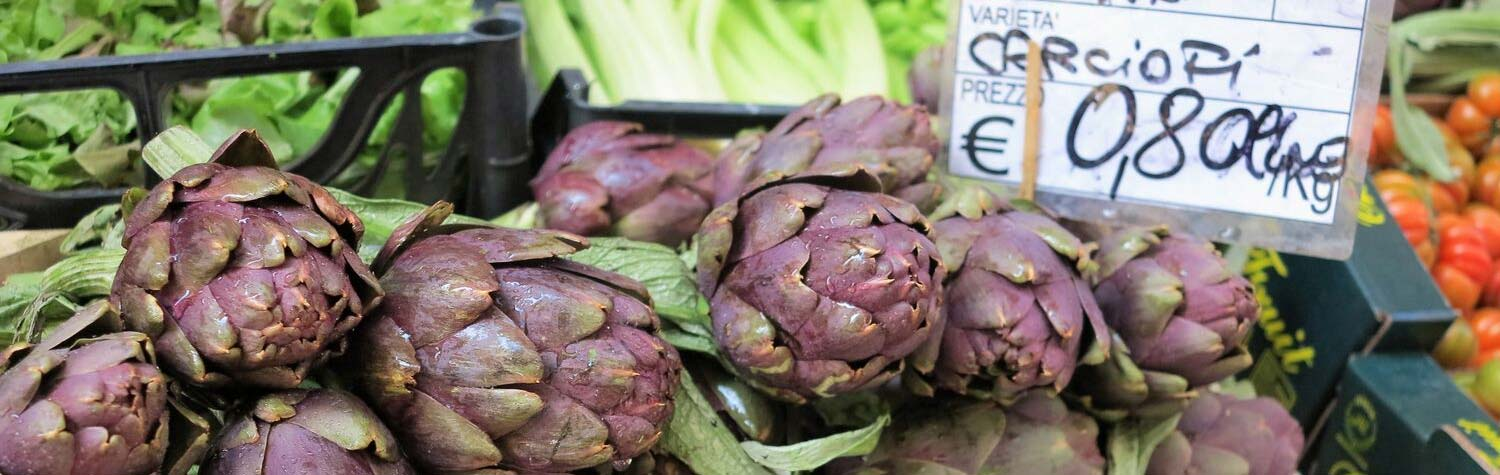 Artichokes for sale at market
