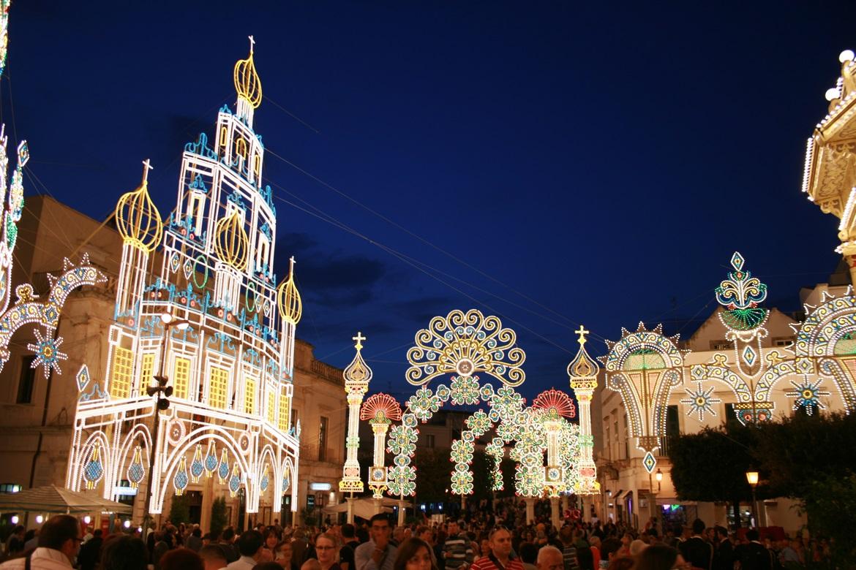 Festival lights in Alberobello Puglia